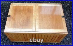 1960s vintage Heals military campaign style solid oak chest trunk coffee table