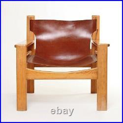 1x MidCentury BORGE MOGENSEN Style Tan Leather Lounge Armchair Vintage Retro