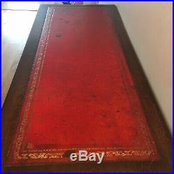 ANTIQUE LEATHER TOP PEDESTAL WRITING DESK Solid Wood Oxblood Vintage Retro Boho