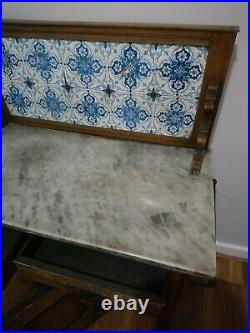 A Vintage Framed Wash Stand Marble Topped, Blue & white Tile Backed