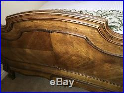 Antique French Baroque-style Rococo Wood Double Bed Vintage