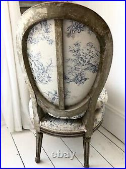 Antique French chair bedroom toile vintage shabby chic pretty gift seat
