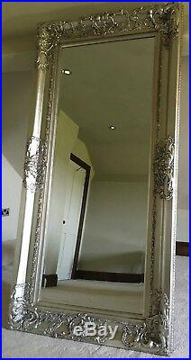 Antique Silver Large Vintage Statement Leaner Dress Swept French Wall Mirror 6ft
