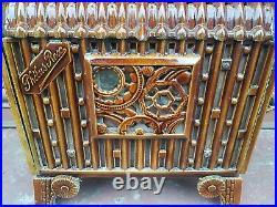 Antique Vintage French enamel Phebus wood burner log burning wood feature Stove