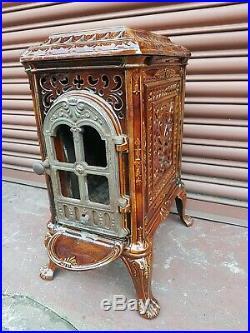 Antique Vintage French enamel wood burner log burning wood feature Stove