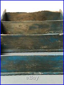 Antique Vintage Indian Wooden Shelving Unit. Art Deco Turquoise