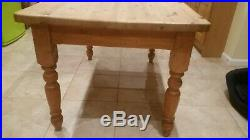 Antique Vintage Stripped Pine Farmhouse Kitchen Dining Table