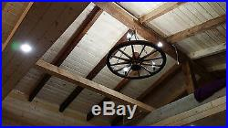 Antique, rustic, vintage wood wagon wheel chandelier ceiling light living dining