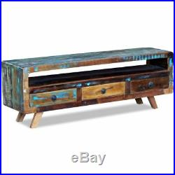 Antique-style Solid Reclaimed Wood TV Cabinet Stand Unit with 3 Drawers Storage