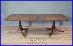 Attractive Large Vintage Mahogany Pedestal D-end Extending Dining Table