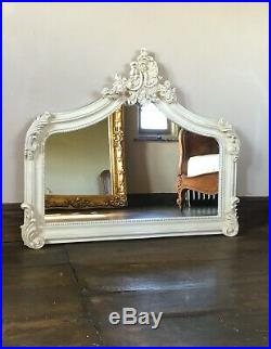 Cream Ivory French Vintage Period Over mantle Scroll Top Arched Wall Mirror