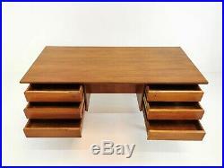 Danish Teak Twin Pedestal Writing Desk Mid Century Vintage Retro 1960's