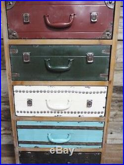 Distressed Antique Vintage Style Multi Coloured Tall Boy Chest Drawers (dx4271)