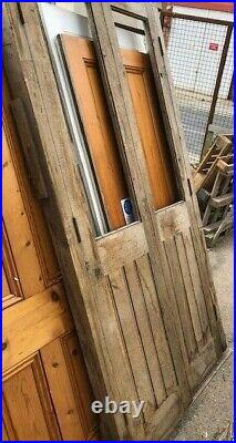 Double doors part glazed with frame Vintage solid aged OAK wood 44x91x 3 1/2
