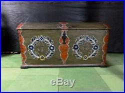 EB482 Pine Painted Marriage Chest Danish Vintage Storage Retro Antique 1799