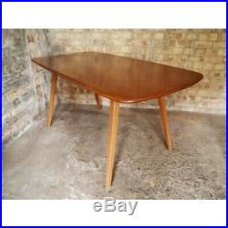 ERCOL vintage PLANK Elm Beech Table & Four Windsor Highback chairs midcentury