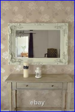 Extra Large Wall Mirror Ivory Full Length Vintage Wood 4Ft X 3Ft 122cm X 91cm