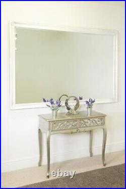 Extra Large White Vintage Look Wall Mirror Full Length 6Ft7 X 4Ft7 201cmx140cm