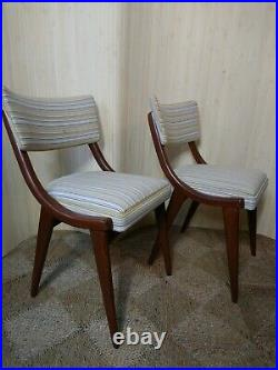 Fab Vintage Retro Mid Century Pair of 2 Ben Chairs Dining Office Striped Linen