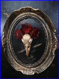 Framed gold crow Skull and red roses in a vintage frame. One of a kind Art