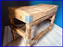 Genuine Vintage Antique Solid Wood Butchers Block Counter, Kitchen Top