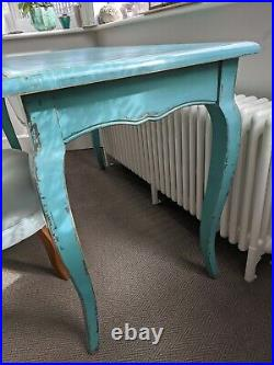 Graham and Green Table Desk Turquoise Green Blue Vintage style Queen Anne