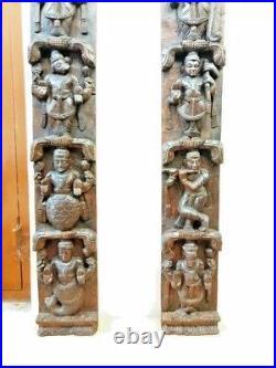 Hindu Dashavatara Wall Vertical Panel Pair Vintage God Vishnu Ten Avatar Diwali