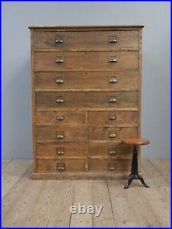 Huge Antique Vintage Industrial Bank Of Drawers Chest Cabinet Cupboard Kitchen