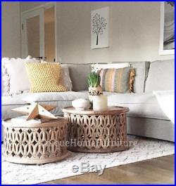 Indian Coffee Table Round Vintage Furniture 2 Side End Tables Antique Solid Wood