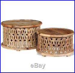 Indian Coffee Table Round Vintage Furniture Side End Tables Antique Solid Wood 2