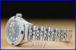 Ladies Rolex Datejust 18k White Gold Diamond Sapphire Watch + Rolex Bracelet