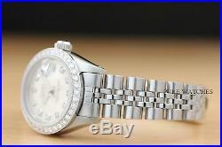 Ladies Rolex Datejust 18k White Gold & Stainless Steel Silver Diamond Watch