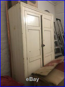 Large Antique Vintage Cream painted Linen Housekeepers Cupboard Shelves Shabby