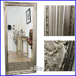 Large Antique Wall Mirror Vintage Silver Dressing Length Style Shabby Floor Home