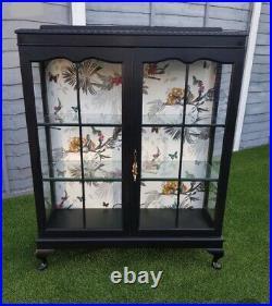 Large Restored Black Vintage Glass Display Drinks Storage Cabinet
