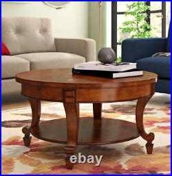 Large Round Coffee Table Vintage Storage Shelf Classic Antique Walnut Room Unit