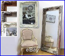 Large Vintage French Frame Carved Wall Leaner Mirror 2 Sizes Cream Silver Gold