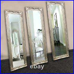 Large XLarge Mirror Vintage Wall Floor Silver Antique Style Shabby Chic Decor