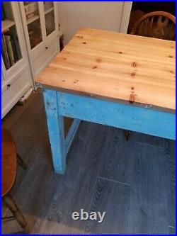 Large antique pine farmhouse kitchen dining table