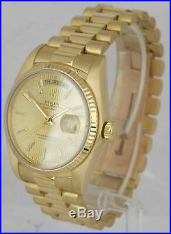 MINT Rolex Day-Date President 36 Champagne Tapestry 18K Yellow Gold Watch 18038