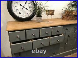 Magnificent Vintage Old Pine Merchants Chest / Bank of Drawers / Sideboard