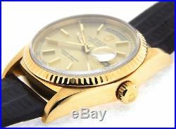 Men Rolex Day-Date President 18K Yellow Gold Watch Quickset Champagne Dial 18038