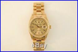 Men's Rolex Day-Date 18038 President Spanish Day Wheel 18K Yellow Gold Year 1980