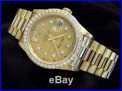 Mens Rolex Day-Date President 18K Gold Watch Linen Diamond Dial 1.35ct Bezel