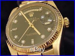 Mens Rolex Day-Date President 18K Yellow Gold Watch Black 8+2 Diamond Dial 18038