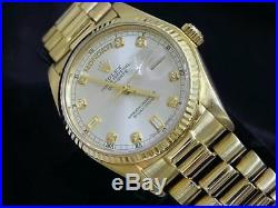 Mens Rolex Day-Date President 18k Yellow Gold Watch Silver Diamond Dial 18038