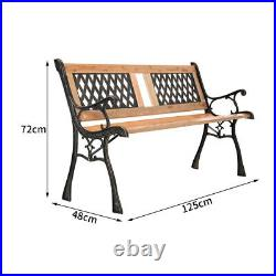 Metal & Wood Garden Bench Patio Vintage Outdoor Seating 3 Seater Armrest Chair