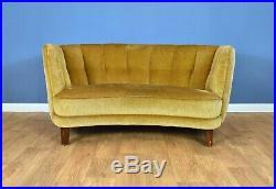 Mid Century Art Deco Vintage Danish Yellow Velour 2 Seat Banana Sofa Settee 30s
