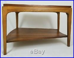 Mid-Century Modern Lane Rhythm End Table Sofa Wedge Accent Walnut Vintage