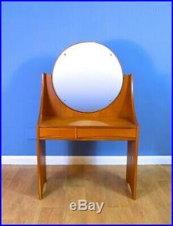 Mid Century Retro Vintage Danish Oak Two Drawer Dressing Table Swing Mirror 60s